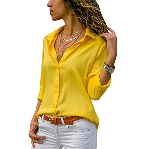 Aooword-women clothes Damen button up high low langarm-t-shirt pullover tuniken X-Large Gelb