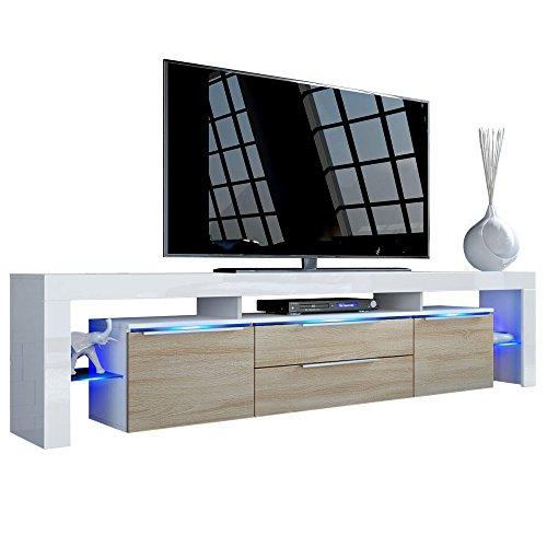 Vladon TV Board Lowboard Lima Nova V2, Korpus in Weiß matt/Front in Eiche sägerau -