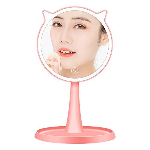 Pn&cc LED Kosmetikspiegel, Smart Touch Base Locker USB-Ladefunktion 10X Schminktisch/Liebhaber/Mutter/Frau/Freundin, Pink Pn Led