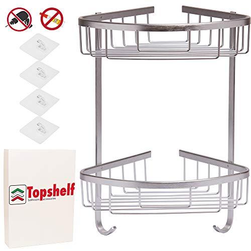 Topshelf mensola angolare da doccia in alluminio, no foro, anti-ruggine, installazione fai-da-te con gancio trasparente auto adesivo, porta-oggetti porta-sapone ad angolo da bagno per shampoo