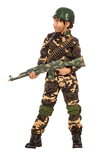 inder Jungen Overall (ohne Kappe) Soldaten-Anzug Tarnfarbe Militärunform Armee Army Luftwaffe Marine Karneval Fasching Hochwertige Verkleidung Fastnacht Größe 128 Grün-Camouflage ()