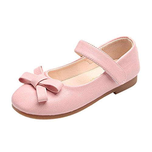 FNKDOR Mädchen Mary Jane Halbschuhe Ballerinas Pumps Mädchenschuhe(28,Pink)