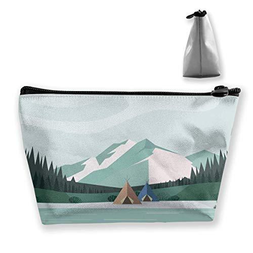 Cartoon Beautiful Winter Landscape Women Cosmetic Bags Multifunktions-Kulturbeutel Organizer Travel Wash Lagerung (Trapez)