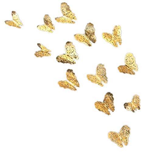 FORH 12 PCS 3D Schmetterlinge Wanddeko Aufkleber Abziehbilder Wand Aufkleber Hauptdekorationen Wandtattoo Schmetterlings Regenbogen Wand-dekor Kinder Baby Schlafzimmer Deko (Gold A)