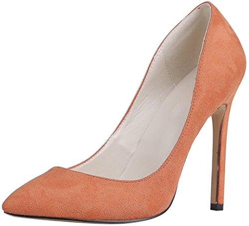 Calaier Mujer Caeverybody Tacón De Aguja 10CM Sintético Ponerse Zapatos de tacón, Naranja, 35