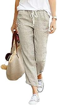 Loyomobak Womens Casual Cotton Linen Loose Solid Drawstring Pants