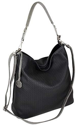 Jennifer Jones Damen Tasche Schultertasche Große Umhängetasche in 5 Farben Handtasche für Frauen Sommer Design Crossbody (3126) (Schwarz)