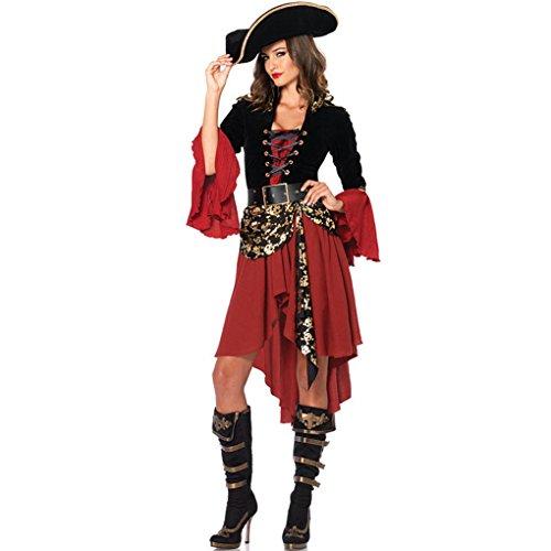 Ranboo Halloween Frauen Schädel Piraten Kleid Kostüme für Cosplay Fancy Dress (Fancy Dress Kostüme Zombie Braut Engel)