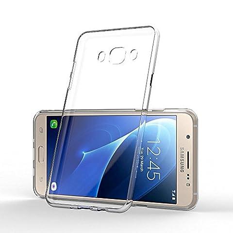 PACK - Verre Trempé Samsung Galaxy J3 2017 Film Protection Vitre écran Protecteur (0,27mm) + Coque Etui Housse BACK CASE CRYSTAL Coque Arriere ULTRA SLIM TRANSPARENT Samsung Galaxy J3 2017