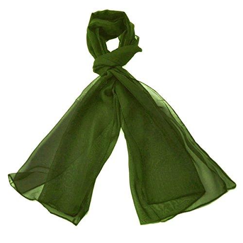 Sciarpa leggera e morbida classica in tinta unita, tessuto con effetto vedo non vedo semi opaco, un tocco di lusso a qualsiasi outfit, 47x 160cm olive green taglia unica