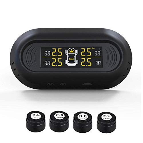 FOONEE Sistema controllo della pressione pneumatici, installazione parabrezza TPMS Solar pneumatici Pressione tester auto pressione pneumatici in tempo reale display con 4 sensori est