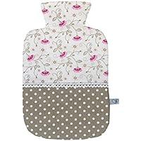 Wärmflaschenbezug in taupe, weiß und pink mit Blumen für 2 l Wärmflasche