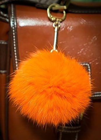3 FOR 2! Orange 8cm Gold Metal Clasp Keyring Pompom Keychain Ball 8cm Monster Soft Fluffy Charm Dangle Fendi Michael Kors Cute Furry Friends Dune Rabbit Designer Genuine Unique Different Unusual Stylish Snake Glamorous Elegant