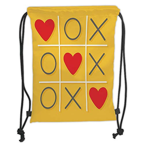nted Drawstring Sack Backpacks Bags,Love Decor,Tic Tac Toe Game with XOXO Flat Design Let Me Kiss You Funny Playful Romantic Illustration,Yellow Red Soft Satin ()