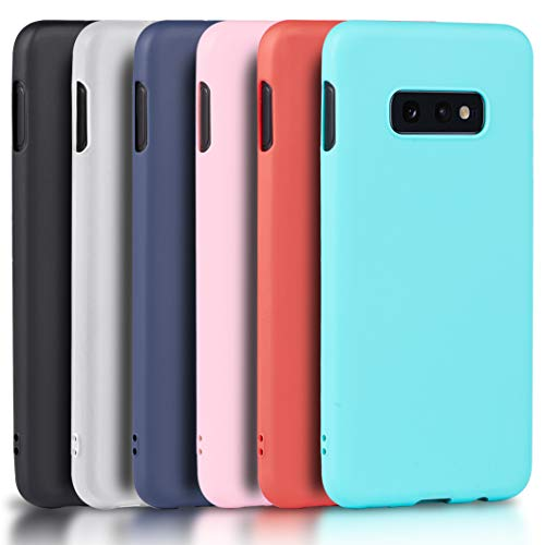Wanxideng - 6X Cover Samsung Galaxy S10e, Custodia Morbido Opaco in Silicone TPU - Matt Silicone Case [ Nero + Rosso + Blu Scuro + Rosa + Verde Menta + Traslucido ]