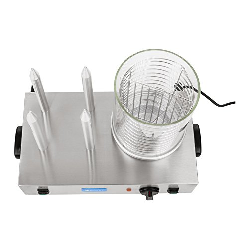Royal Catering Hot Dog Maker Commercial Hot-Dog Machine Professional RCHW 2300 (Power 2 x 300 Watt, Temperature 0-95 °C, Cylinder Height 24 cm, Cylinder Diameter 20 cm, 4 Toaster rods)