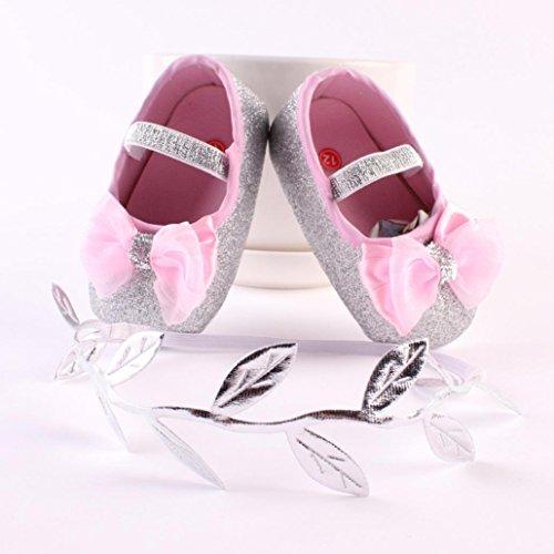 Reasoncool Pattini della ragazza del fiore del bambino Sneaker antiscivolo mano morbida bambino calza + 1pc Hairband Rosa