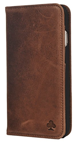 Porter Riley - Lederhülle für iPhone SE/iPhone 5/5s. Premium Echtleder Standhülle/Cover/Brieftasche kompatibel mit iPhone SE/iPhone 5/5s (Schokoladenbraun)
