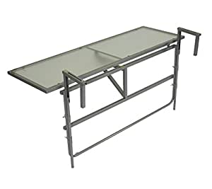 table de balcon suspendue 120 x 40 cm gris acier verre. Black Bedroom Furniture Sets. Home Design Ideas
