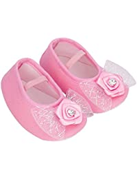 853f3eb7d022 Daizy Baby Shoes Booties in Pink Flower and Silver Bow for Cute Baby Girl