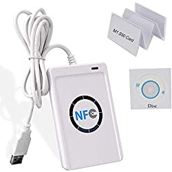 uoweky Lecteur de Cartes à Puce sans Contact RFID NFC RFID avec Contrôle d'accès, Graveur de Lecteur NFC USB 13,56 MHz, Bureau NFC RFID + Disque + Carte M1 S50
