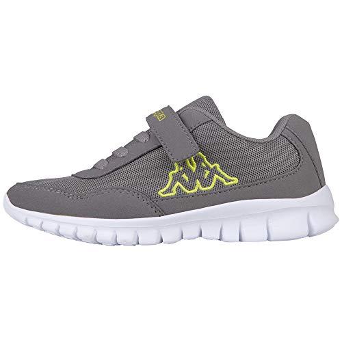 Kappa Unisex-Kinder Follow Kids Sneaker, Grau (1633 Grey/Lime), 33 EU