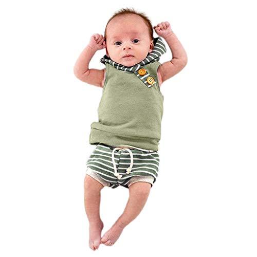 Fenverk Baby Bekleidung Jungen MäDchen äRmellose Gestreift Hoodie Jumpsuit Outfits Kleinkind Sommer Mit Kapuze Spleiß Trainingsanzug Tops + Shorts Hose Set Babykleidung(Grün,2Pcs,6-12 Monate)