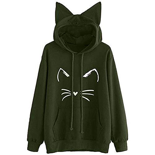 Damen Hoodie Sweatshirt,Juliyues Frauen Kapuzenpullover Katze Print Sweatshirts Pullover Jumper Langarm Casual Tops Bluse