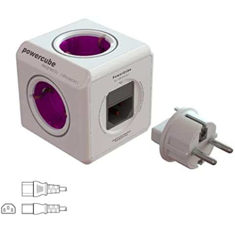 allocacoc PowerCube ReWirable Plug, Ladrón multiple con 5 enchufes/tomas de corriente en forma de