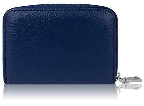 Premium Kredit-Karten-Etui Geldbörse Echt-Leder mit Edel Stahl rundum Reißverschluss Zipper 12 Fächer RFID Schutz - klein Mini Slim Karten-Hülle Portemonnaie Portmonee Brieftasche Geldbeutel blau -