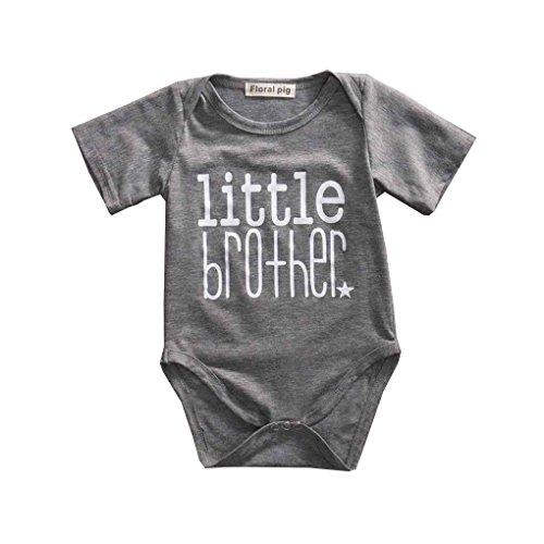 Babysbreath Große Schwester und kleiner Bruder Familie passenden Outfits kleine Bruder Strampler große Schwester T-shirt Tops Baumwolle Outfits grau S