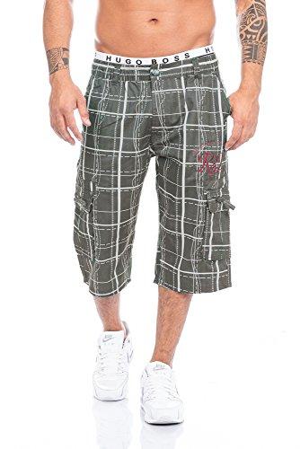 Herren Bermuda Shorts Capri in schönen Karo Farben Schwarz,Weiß und in Antrhrazit Oliv bis XXXL (M, Oliv)