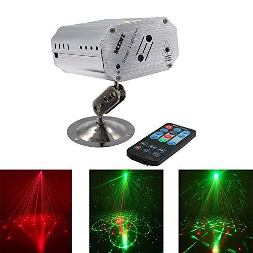 DyAn 2 Objektiv-Ton aktivierte Bühnenbeleuchtung, RGB 24 Muster-Projektor DJ-Disco-Licht Mini-LED-Blitzlicht for Geburtstag, Hochzeit, Karaoke Bar