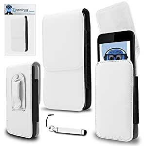iTALKonline Maxwest Orbit Z50 White PREMIUM PU Leather Vertical Executive Side Pouch Case Cover Holster with Belt Loop Clip and Magnetic Closure and Re-Tractable Captive Touch Tip Stylus Pen with Rubber Tip