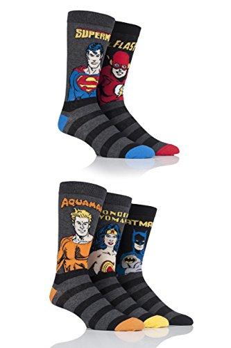 Film & TV Herren 5 Paar SockShop Justice League Aquaman, Flash, Superman, Batman und Wonder Woman Socken - Sortiert 46-48