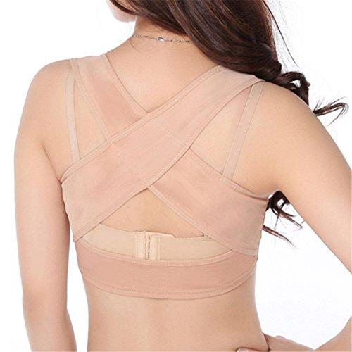Denshine Soporte espalda Adjustable corrector de la postura pecho para Forma mujer Jorobado corrector de la postura superior del hombro Con empuja el sujetador (M(74—80cm))