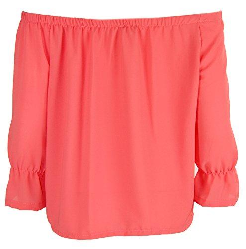 K01 nouvelles femmes épaule découverte mousseline de soie T-shirt haut chemisier en grande taille 08-26 Corail