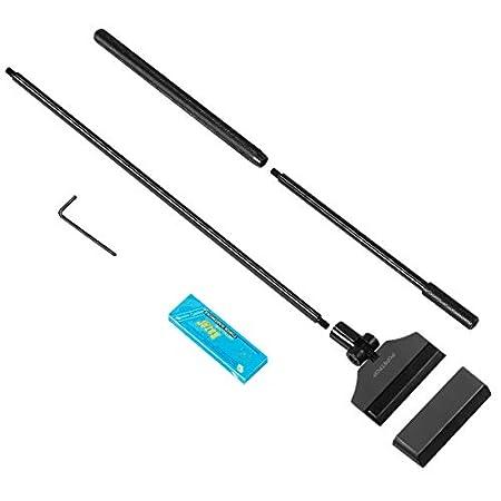 POPETPOP Aquarium Algen Rasiermesser Schaber 65cm Aluminiumlegierung Algenschaber Reinigungsmittel Werkzeug mit 10 Klingen für Glas fischbecken (Schwarz)