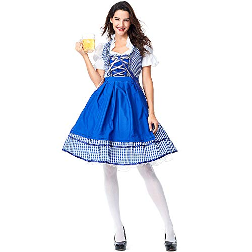 CJJC Oktoberfest Beer Maids Kostüm, Kreative Halloween Cosplay Bar Frauen Outfits, Blaue Plaid Kleider Mit Kreuzgurten S (Kreative Kostüm Frauen)