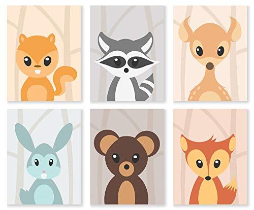 aby Tier-Drucke, 20,3 x 25,4 cm, 6 Stück, Kinderzimmer-Dekoration, Wald, Mädchen Jungen ()