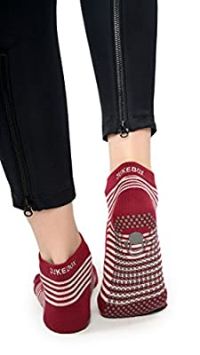 JUKEBOX Full Toe Grip Motion Socks Open (Red) - Unisex Grip Socks, Non Slip Grippers For Optimal Balance. Socks For Yoga, Gym, Pilate, Crossfit, Indoor workout, Aerobics, Dancing, Zumba, Bikram, Barre, Ballet And More……