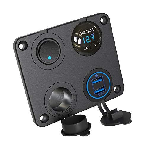 QC 3.0 USB Auto Steckdose KFZ Ladegerät Buchse 12V Wasserdicht Einbausteckdose Zigarettenanzünder Adapter mit LED Voltmeter Batterie Anzeige 36W Quick Charge 3.0 für Wippschalter auf Boot ATV RV