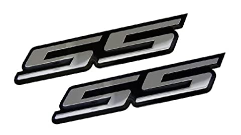 2 x (pair/set) SS Super Sport SILVER on BLACK Highly Polished Aluminum Silver Chrome Car Truck Engine Swap Badge for General Motors 454 S10 Cameo Xtreme Force Hugger Colorado Xtreme SSR Silverado Intimidator Trail Blazer Malibu Opala Acadian Caprice Lumina Astra Corsa Meriva