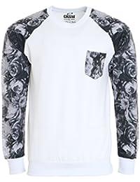 CARISMA Rose Pullover Herren Sweater Sweatshirt Weiß Langarm-Shirt Rundhals