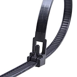 Black Releasable Reusable cable ties, 7.2mmx300mm, 10 pieces