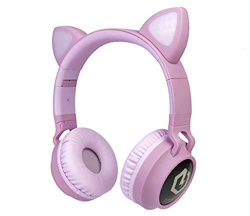 PowerLocus Casque Enfant Bluetooth, Casque Audio sans Fil pour Enfants, Bluetooth 5.0 Confortable Pliable Casque avec Micro intégré, Volume limité à 85db, Réglable, Micro SD Carte Slot, Lumières LED