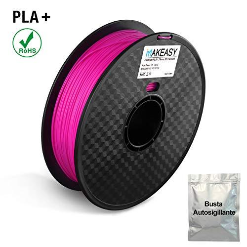 Filamento PLA 1.75mm, MAKEASY Filamento 1kg Spool per Stampante 3D/Penne 3D con Busta Salva Umidità in Alluminio - Viola