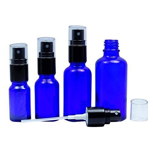 6 Pcs vides bouteilles de pulvérisation Cobalt verre bleu avec capuchon noir, rechargeable Huile Essentielle atomiseur Parfums Bouteilles Boston Round atomiseur gros 10 ML