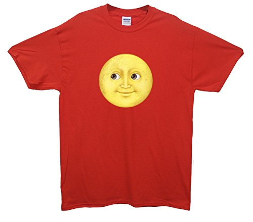 Full Moon Face Emoji T-Shirt Rot
