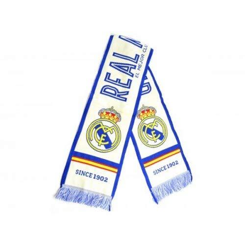 """Bufanda Real Madrid - Telar color Blanco / Azul - """"EL MEJOR CLUB DEL MUNDO"""". 140 X 20cm"""